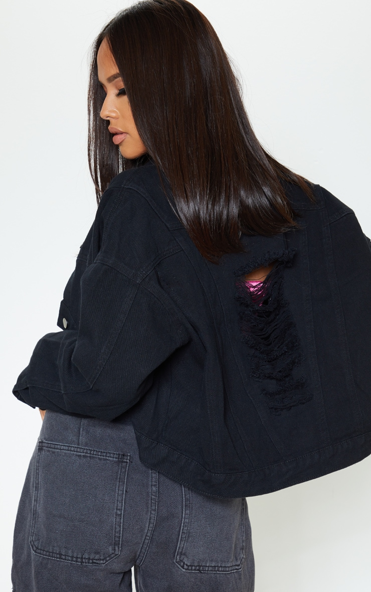 Black 4 Pocket Oversized Denim Jacket 2