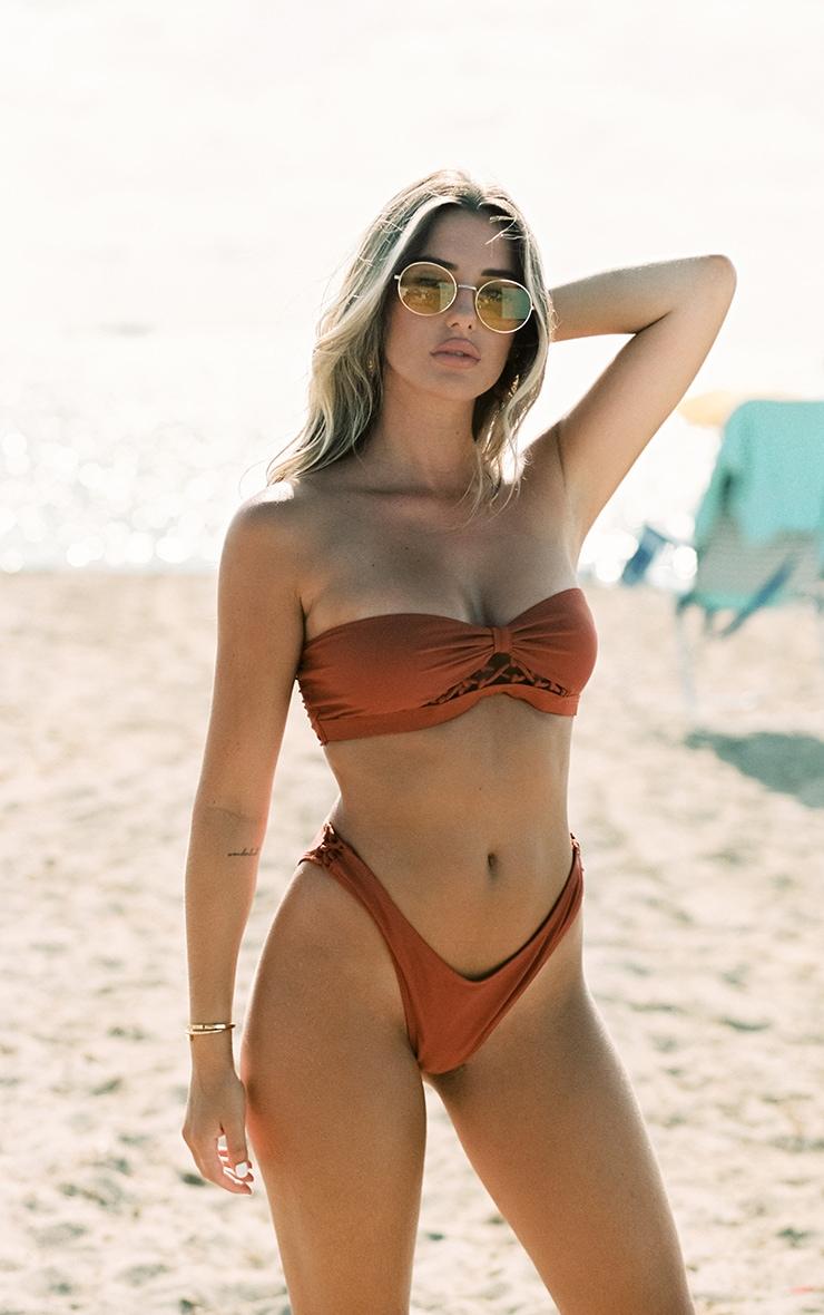 Brown Laced Detail High Leg Bikini Bottoms 1
