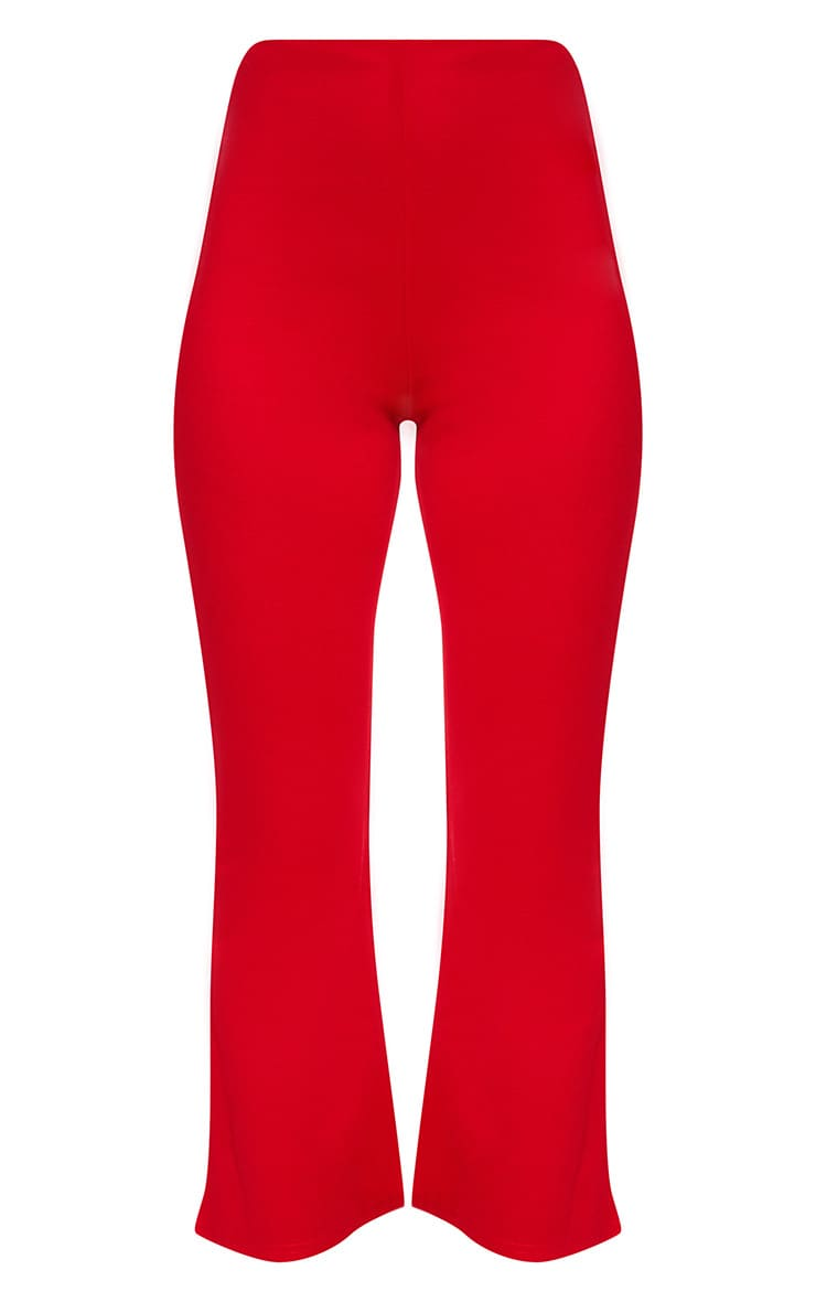 Red Kick Flare Cropped Trousers 3