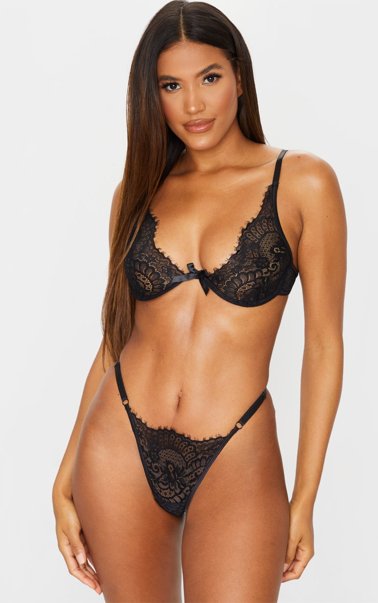 Black Underwired Lace Cup Lingerie Set 1