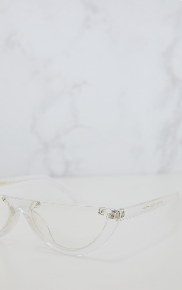 110c7cfe038 Transparent Rounded Half Frame Retro Sunglasses image 4