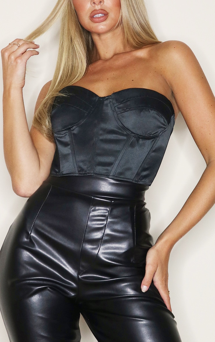Black Satin Panel Detail Bandeau Crop Top 4