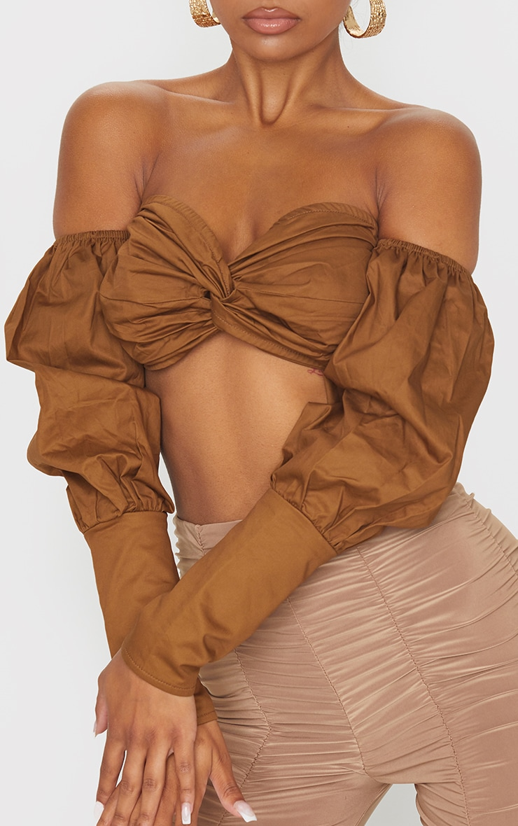 Brown Woven Twist Front Bardot Long Sleeve Crop Top 4