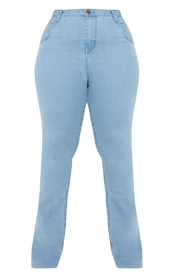 Plus Light Wash Stretch Denim Flared Jean  3