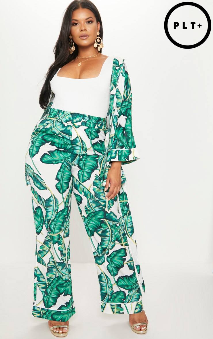Plus Green Palm Print Wide Leg Trousers