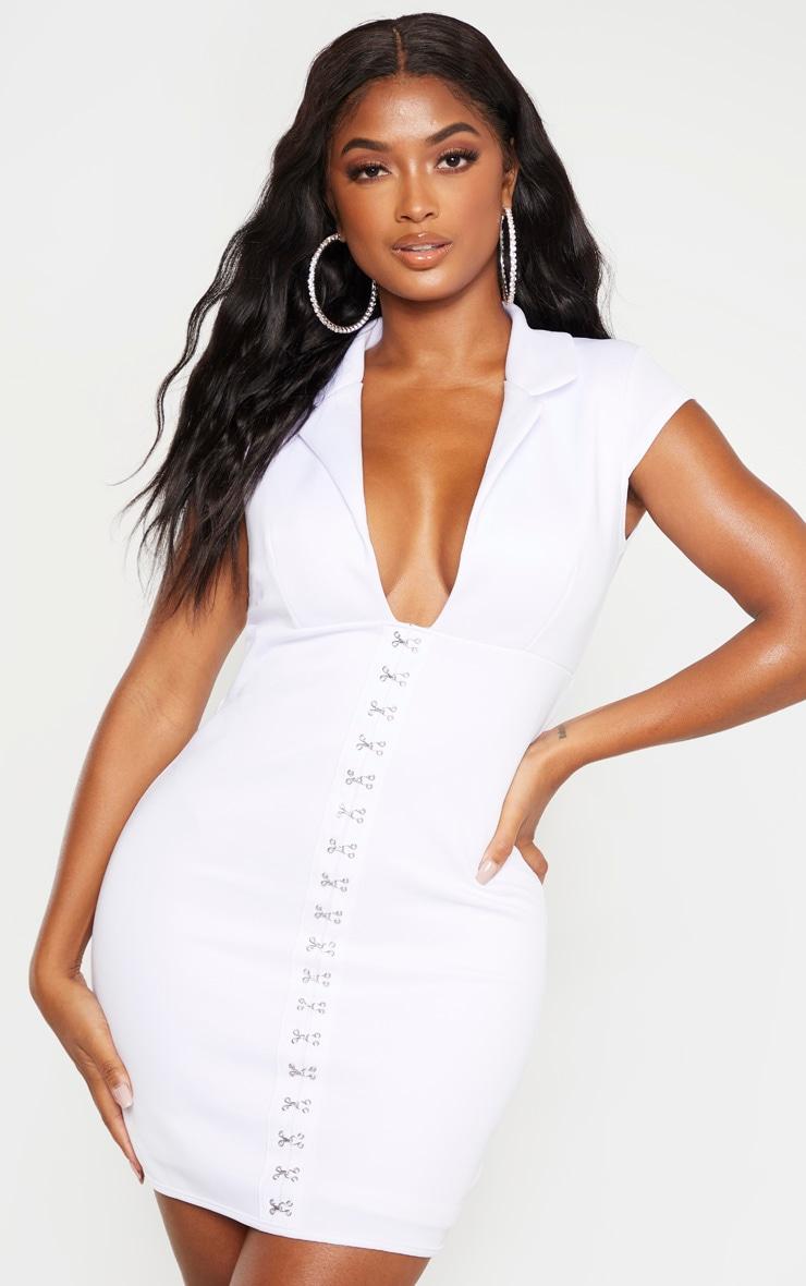 Shape White Collar Detail Hook And Eye Bodycon Dress 1