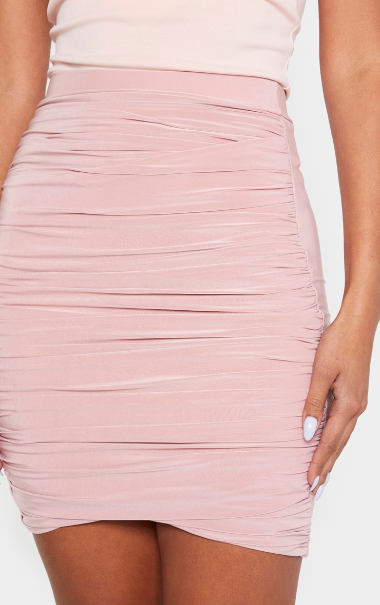 Dusty Rose Ruched Layered Slinky Mini Skirt 6