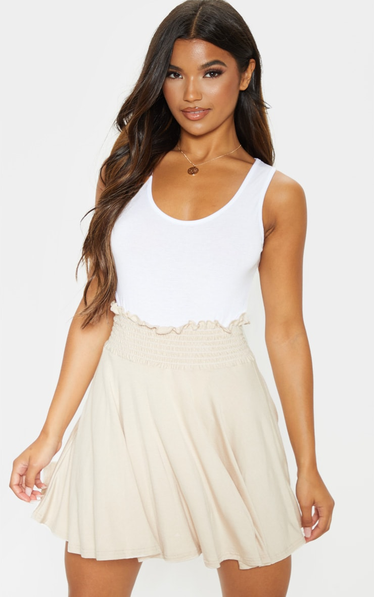 Stone Shirred Waistband Skater Skirt  1