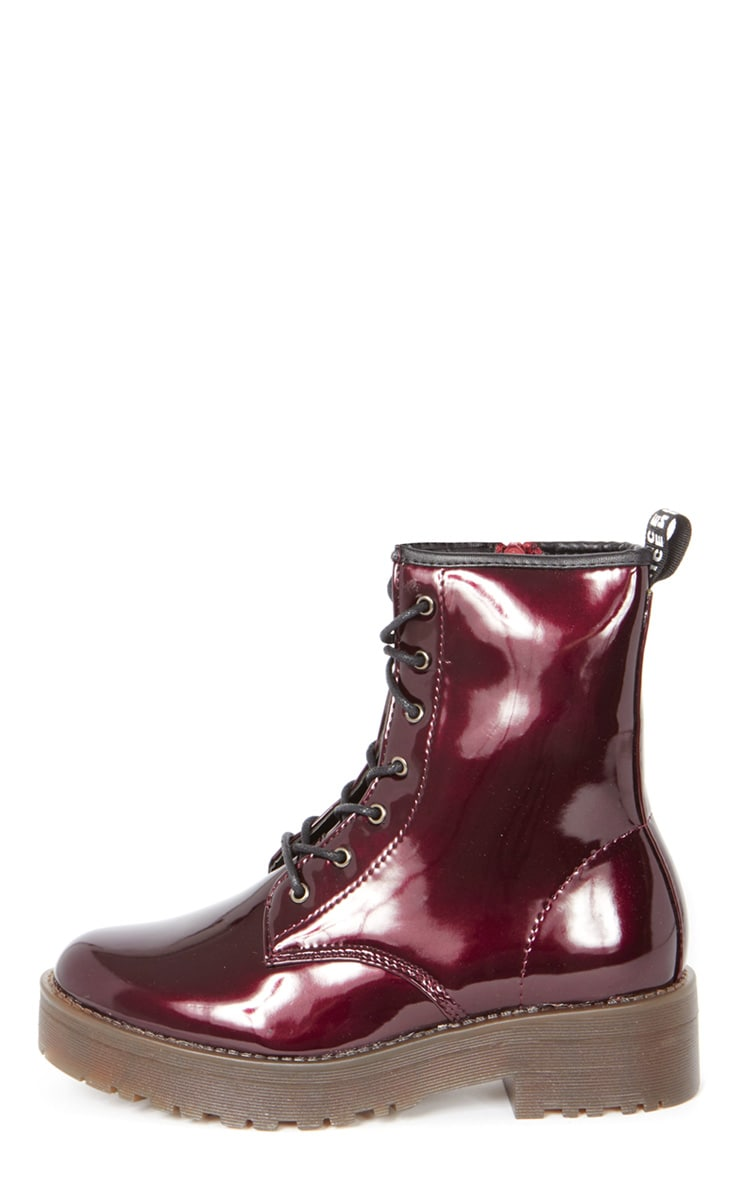 Kat Oxblood Patent Lace Up Boot  1