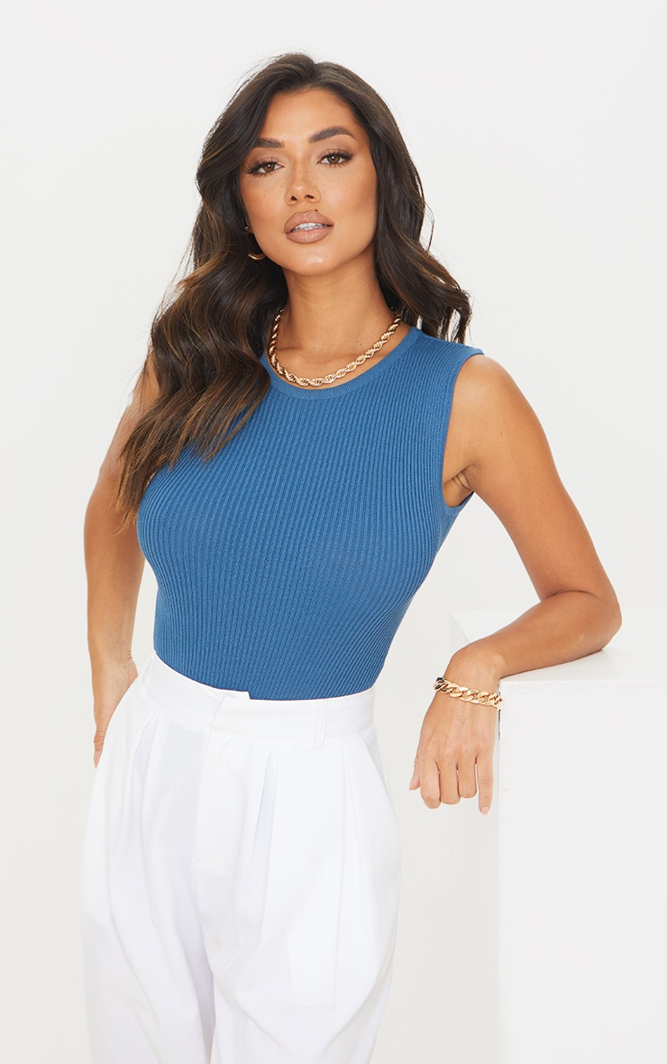 Blue Ribbed Knitted Racer Bodysuit 1