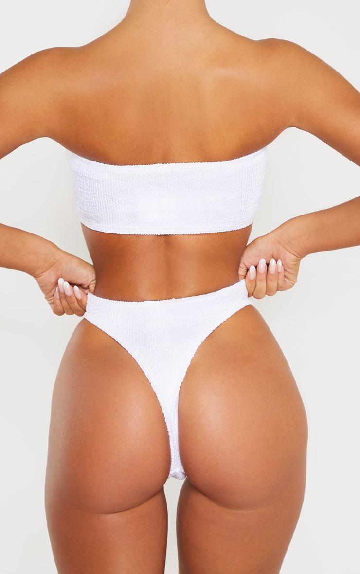 White Crinkle Thong Bikini Bottom 4
