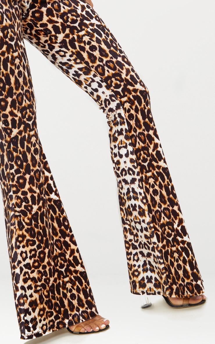 Leopard Print Velvet Flared Pants 5