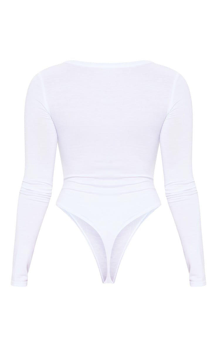 Petite White Basic Plunge Long Sleeve Bodysuit 4