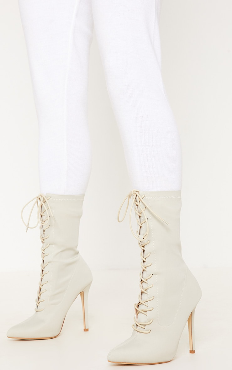 Beige Lycra Lace Up Sock Boot