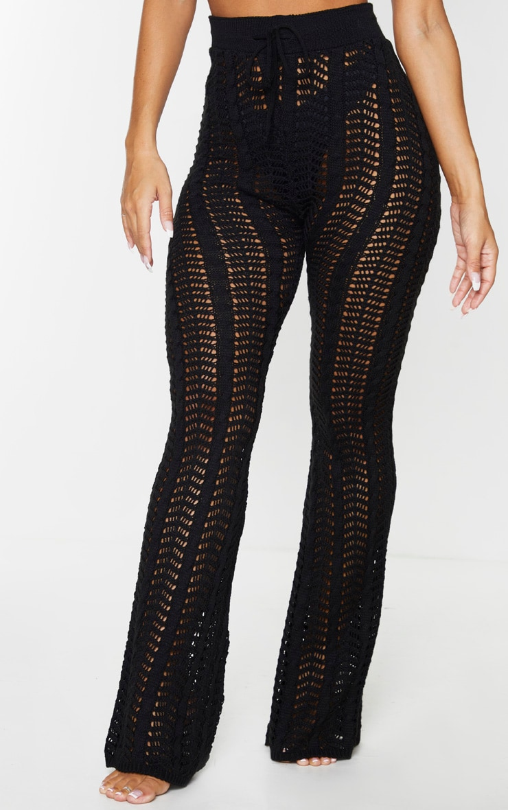 Black Open Pointelle Cable Knitted Beach Pants 2