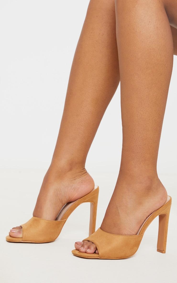 tan open toe pumps