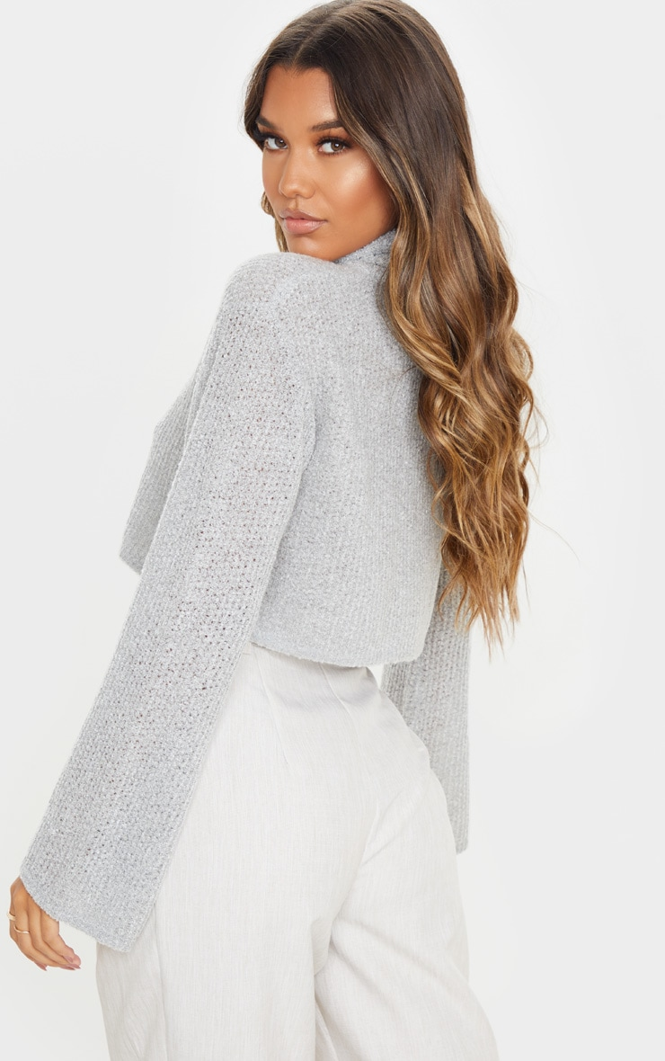 Light Grey Boucle Crop Knitted Roll Neck Jumper 2
