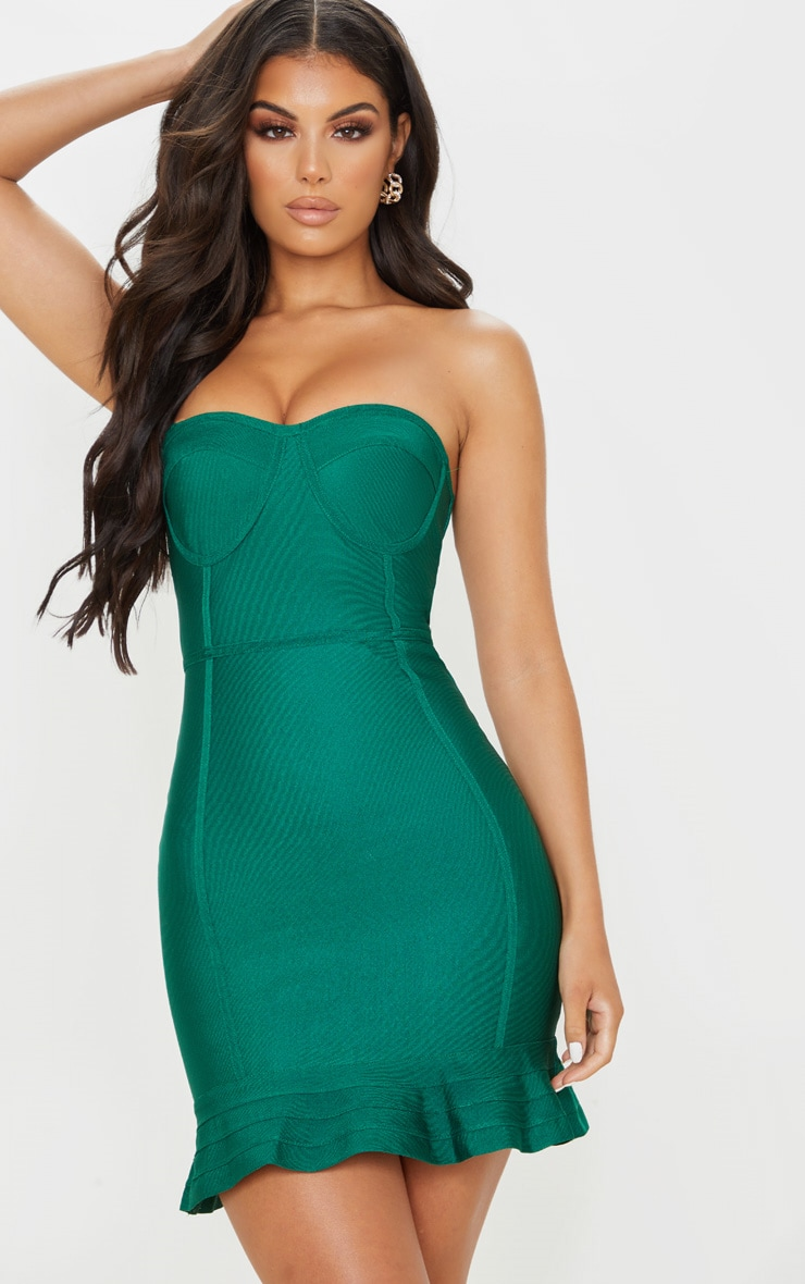 Emerald Green Bandage Frill Hem Bodycon Dress 1
