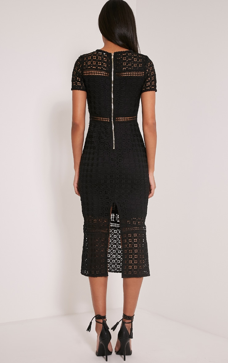 Midira Black Crochet Lace Midi Dress 5