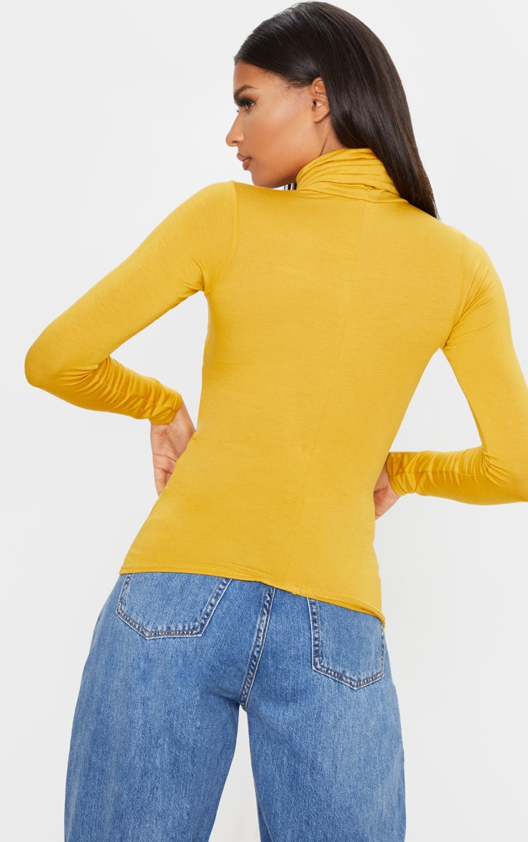 Basic Mustard Long sleeve Roll Neck Top  2