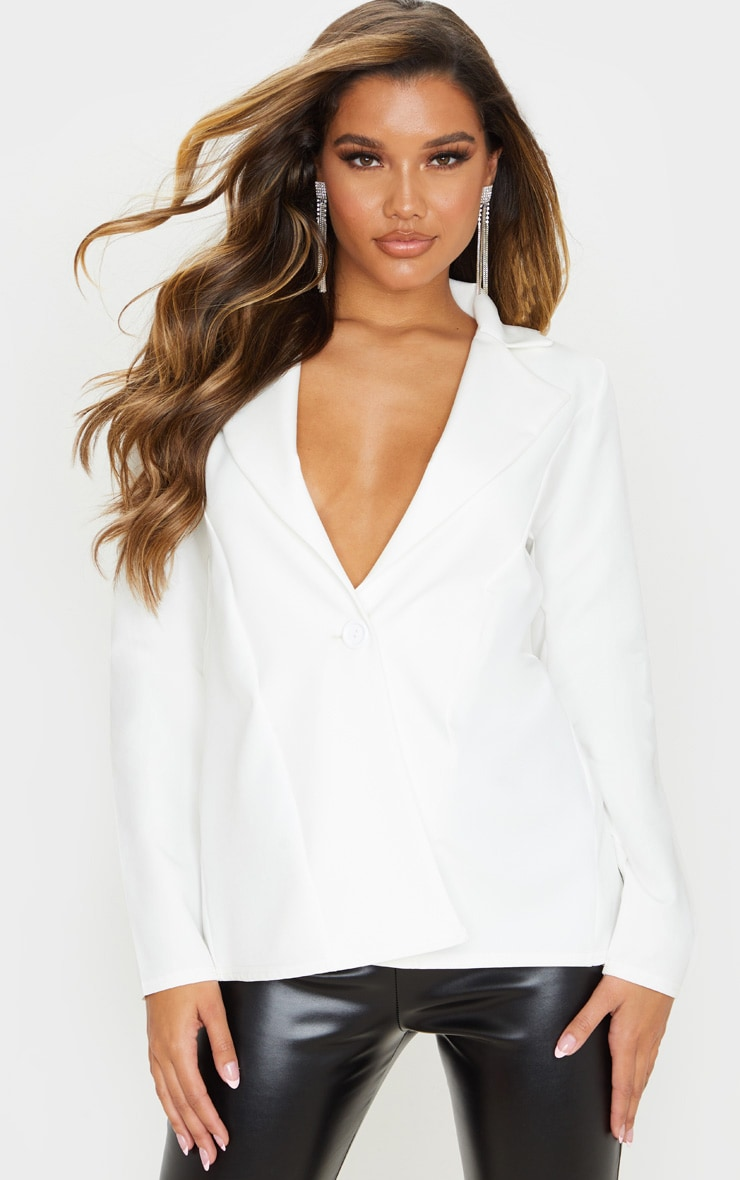 White Woven Tie Back Bow Detail Blazer 2