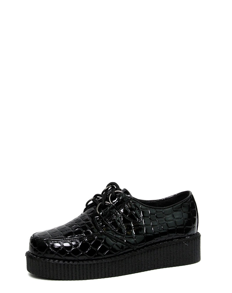 Mia Black Patent Croc Print Creeper Shoe 1