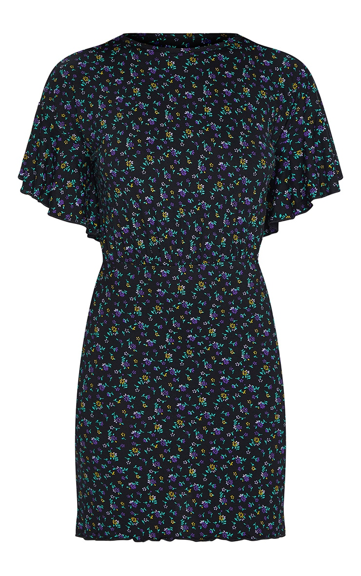 Black Ditsy Floral Frill Hem Detail Shift Dress 5
