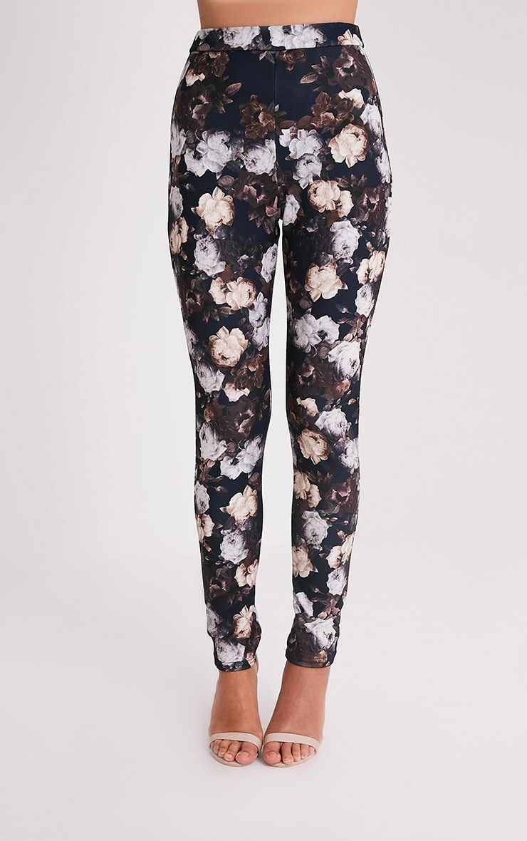 Calissa Black Floral Crepe Cigarette Trousers 2