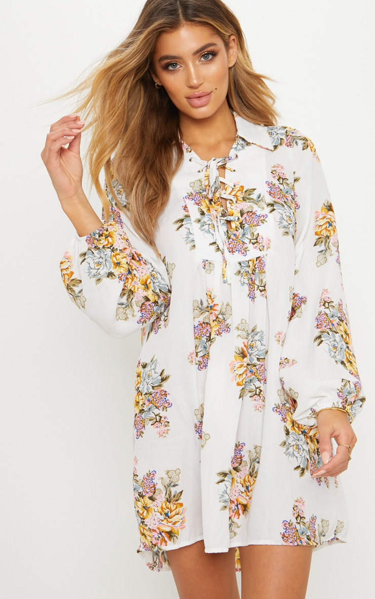 White Floral Print Balloon Sleeve Shift Dress 1