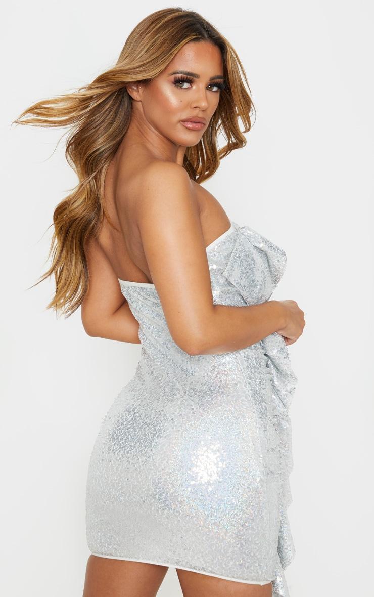 Petite Silver Frill Detail Sequin Mini Dress 2