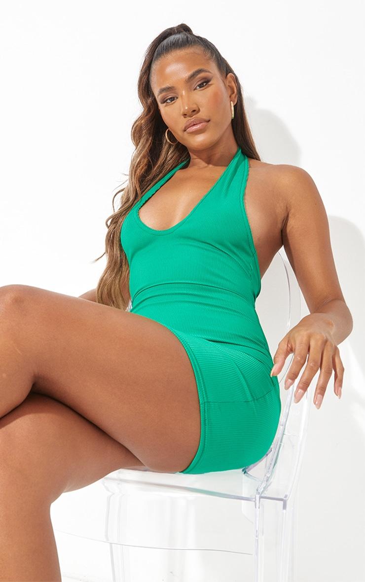 Green  Ribbed Halterneck Tie Back Bodycon Dress 4
