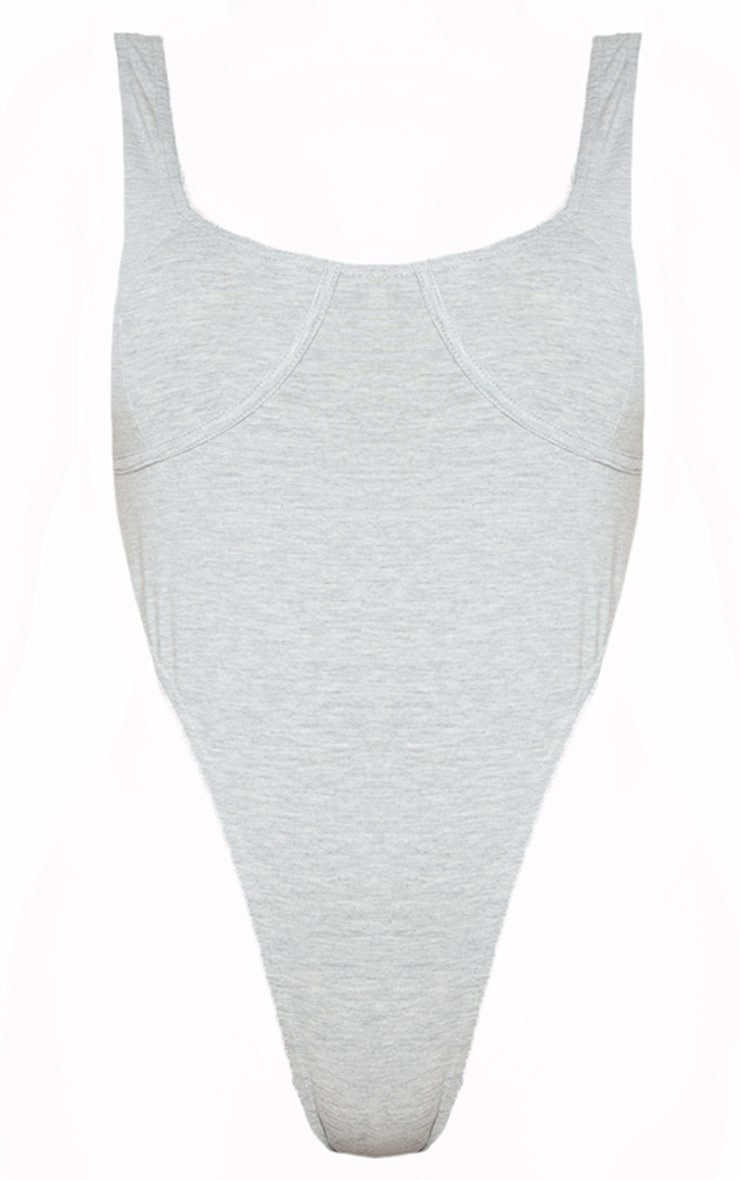 Shape Grey Cotton Cup High Leg Bodysuit 5