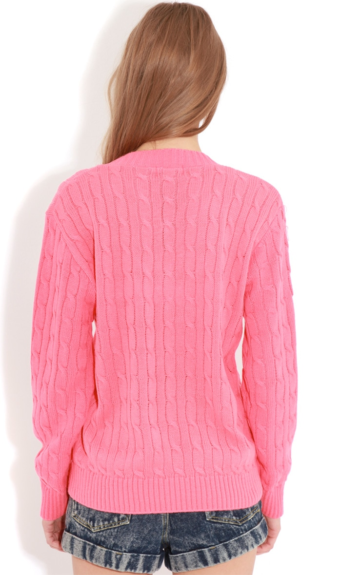 Raveena Coral V Neck Cable Knit Jumper 2