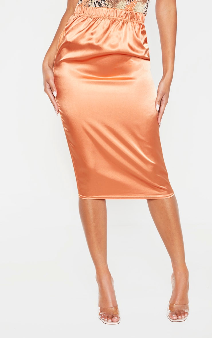 Chestnut Satin Midi Skirt  2