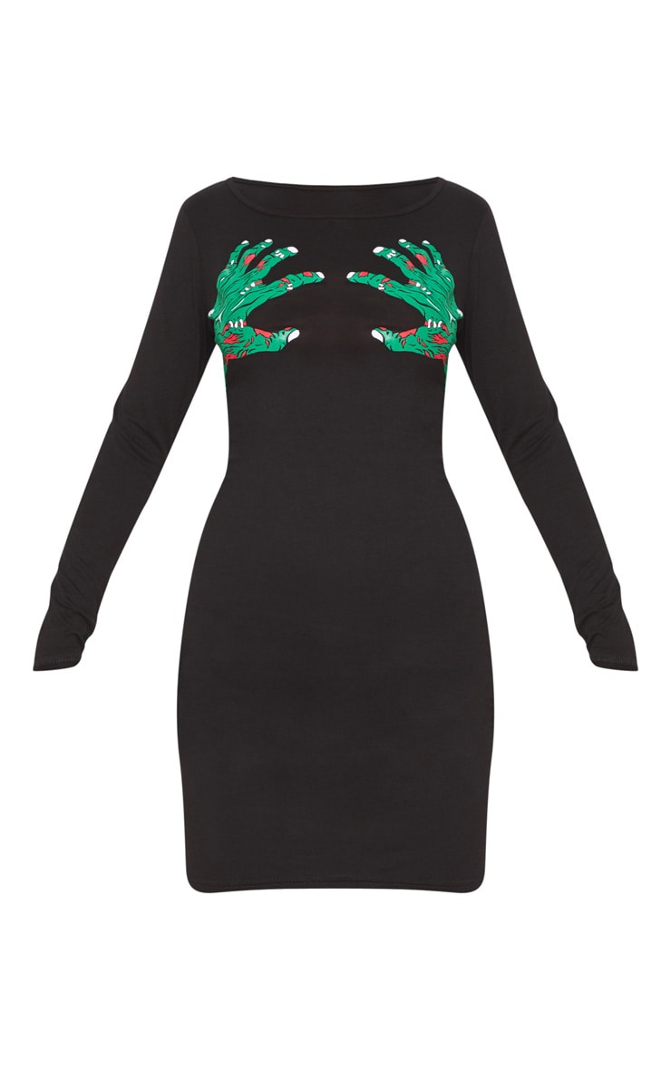 Black Zombie Hands Slogan Bodycon Dress 3