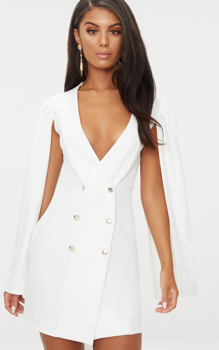White Cape Button Detail Blazer Dress 1