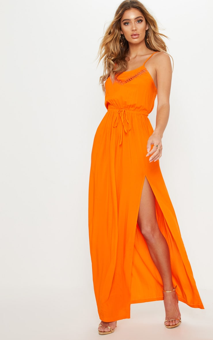Orange Lace Trim Tie Detail Maxi Dress 1