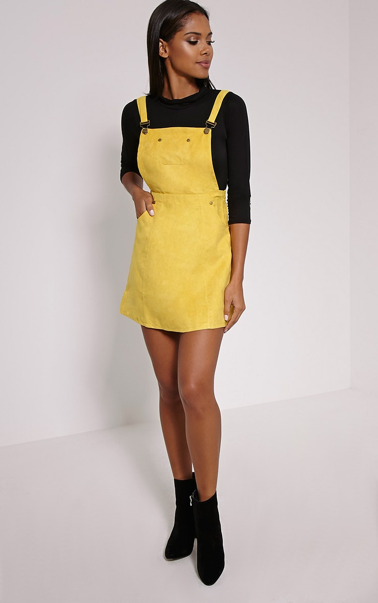 Lumie Mustard Faux Suede Pinafore Dress 3