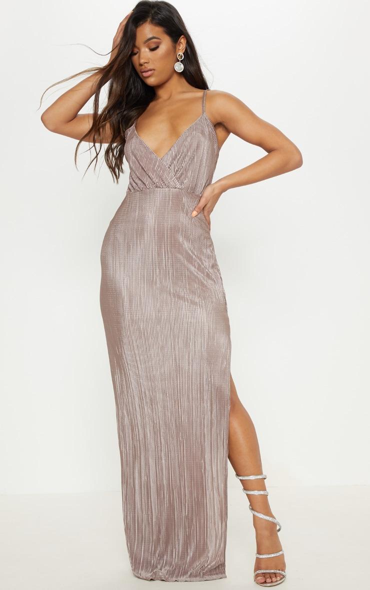 Mocha Plisse Strappy Maxi Dress 1