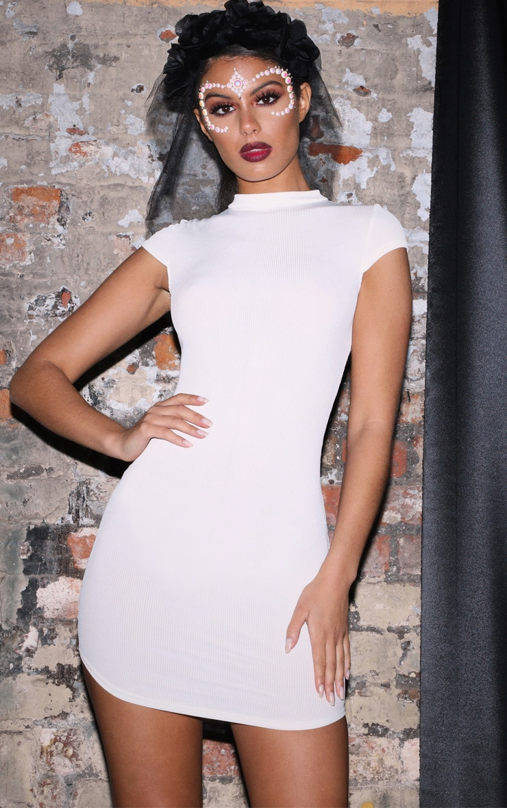 White High Neck Ribbed Bodycon Dress