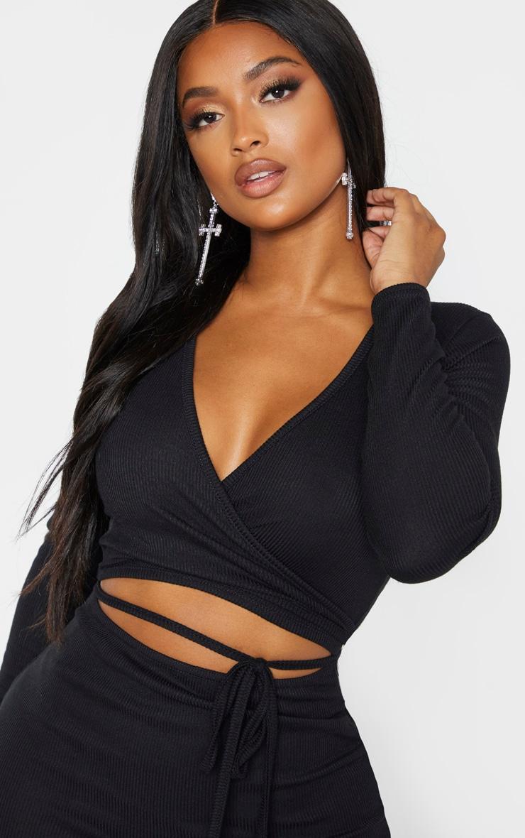 Shape Black Ribbed Wrap Waist Midi Dress 5