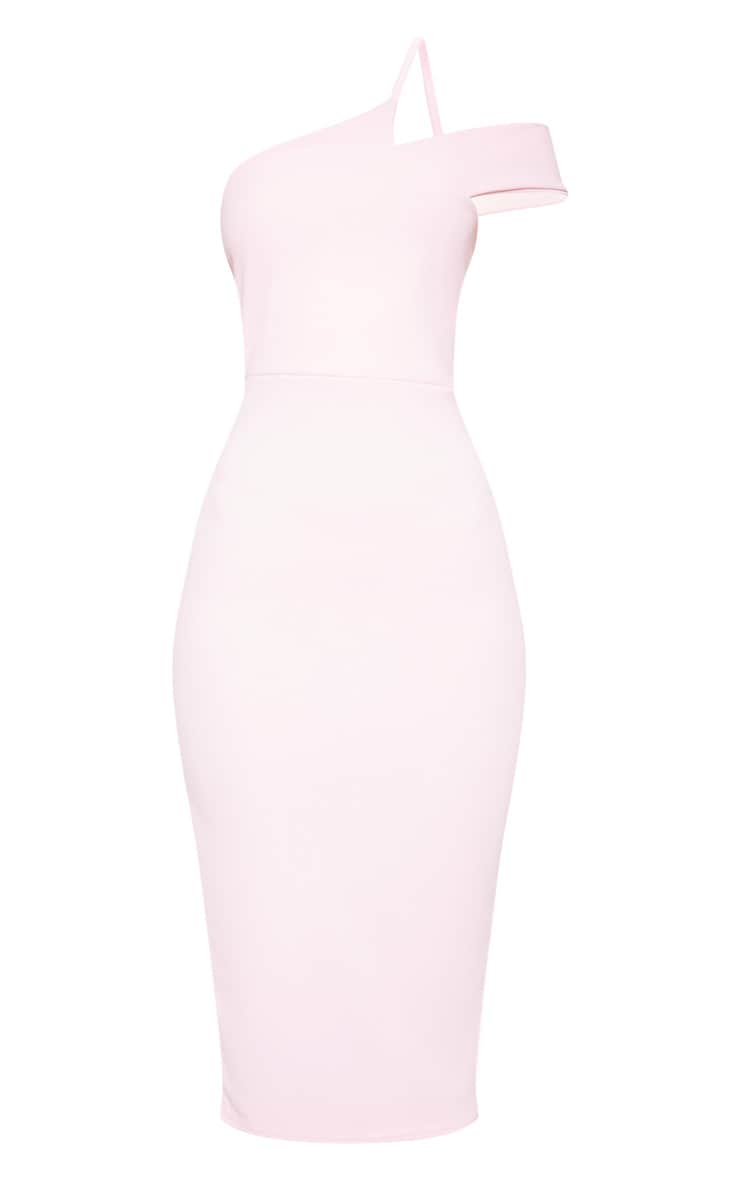 Baby Pink Asymmetric Neck Midi Dress 3