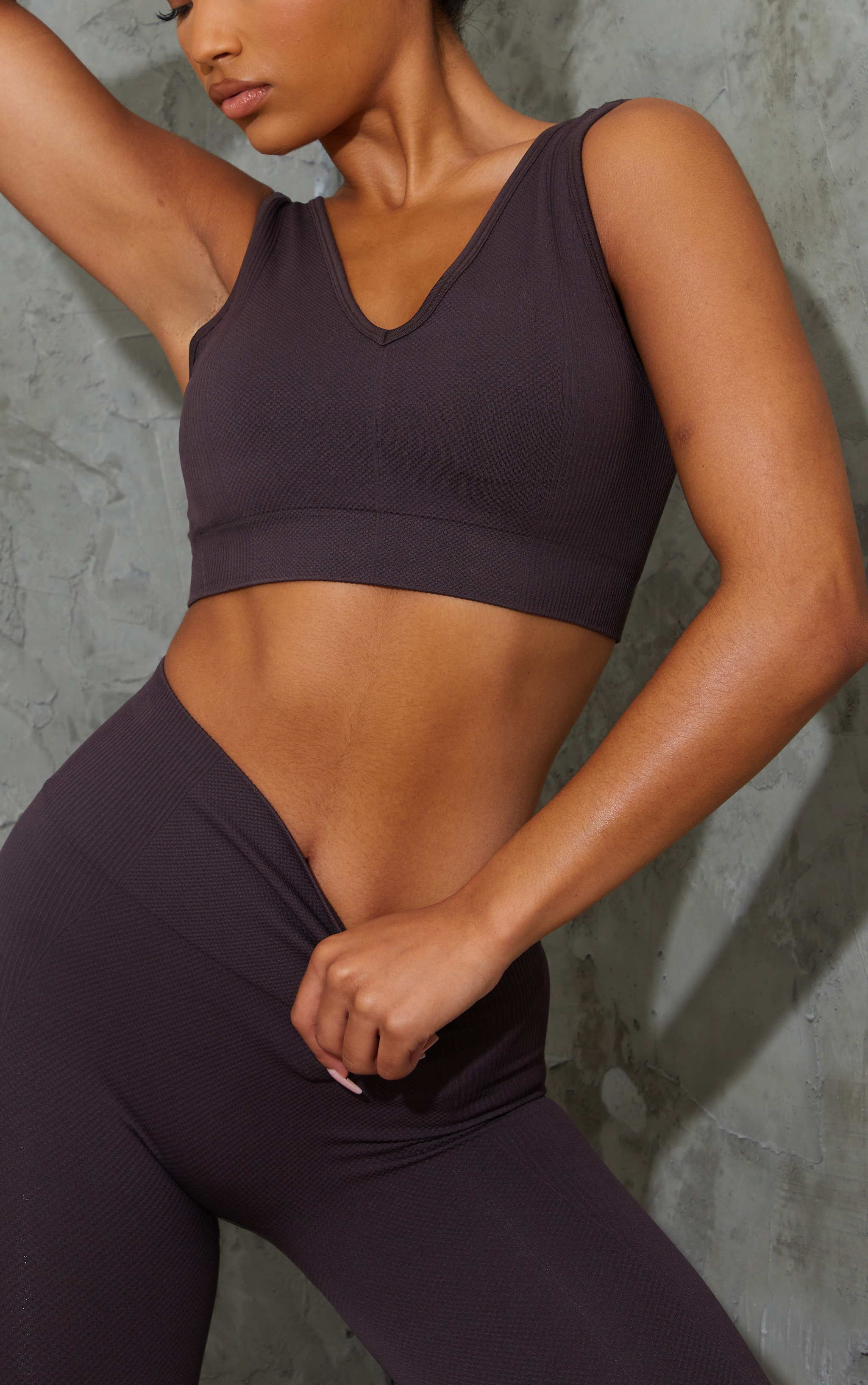 Chocolate V Neck Padded Textured Seamless Sports Bra 4