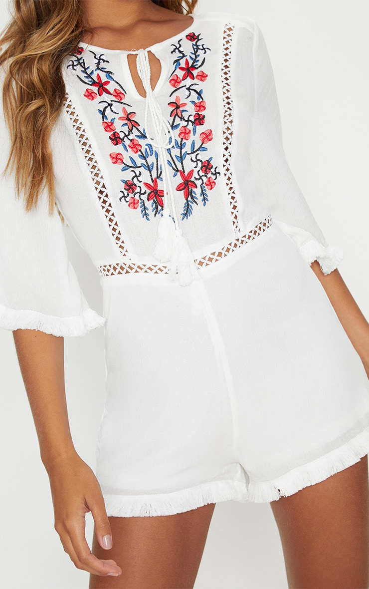 White Embroidered Tassel Playsuit 5