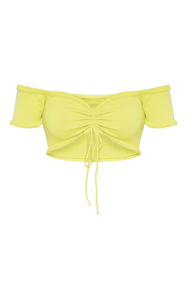 Lime Ruched Knit Puff Sleeve Top 3