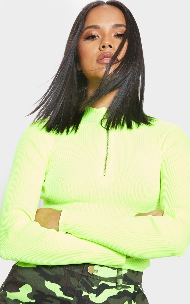 Neon Yellow Ribbed Zip Up Knitted Top  5