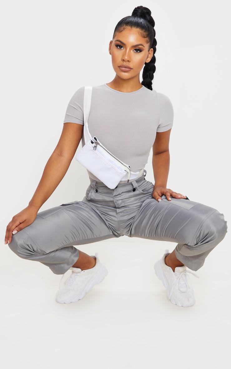 Grey Marl Crepe Short Sleeve Thong Bodysuit 5