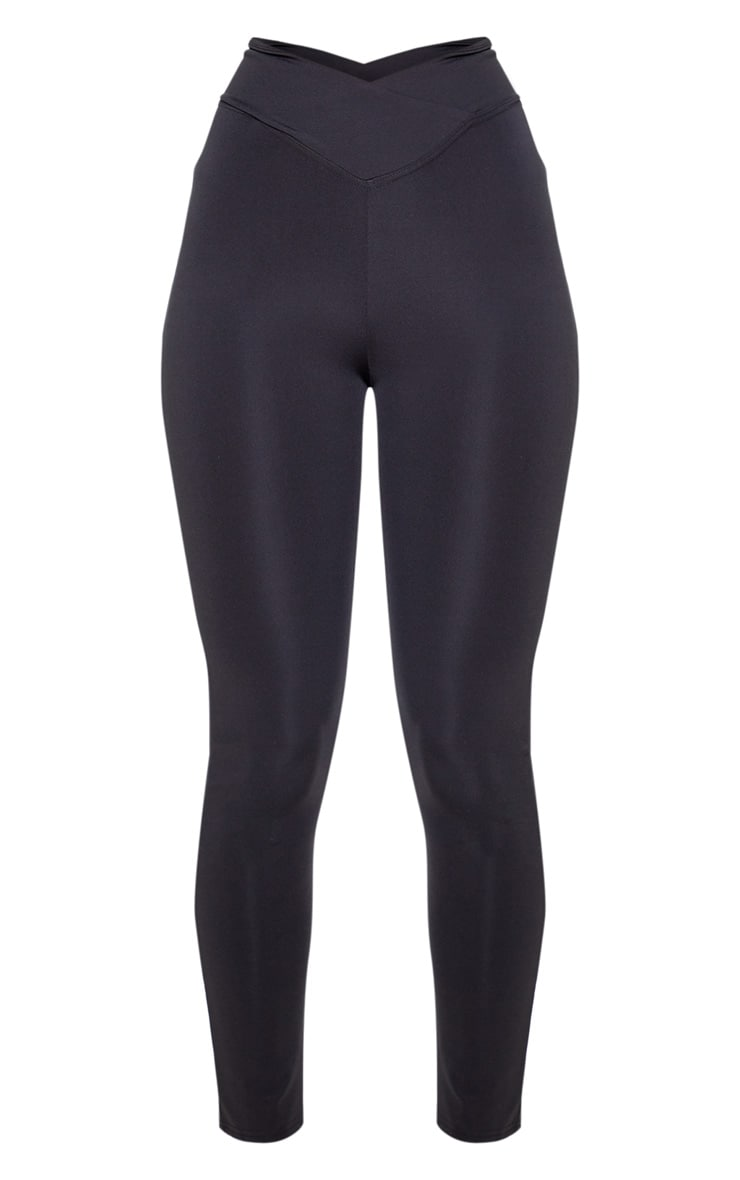 Black V Front Gym Leggings 3