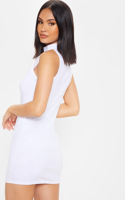 White High Neck Cotton Bodycon Dress