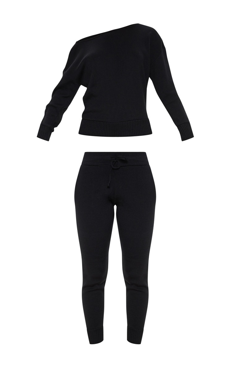 Black Jogger Jumper Knitted Lounge Set 3